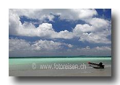 Strand mit Boot auf Praslin